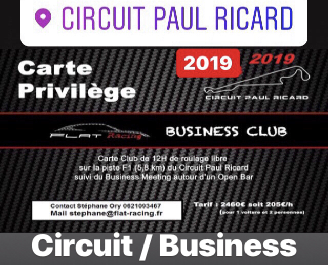 La carte du Business Club du circuit Paul Ricard