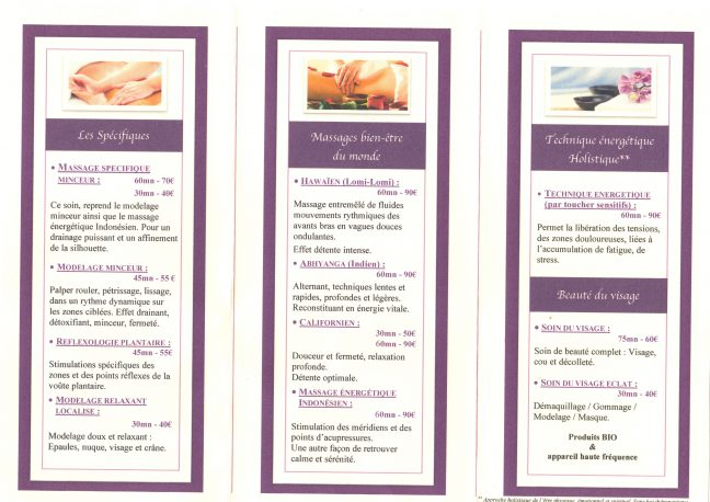 Services de l'hôtel : massages et soins